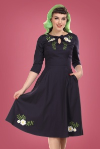 50s Rossella Camelia Swing Dress in Navy
