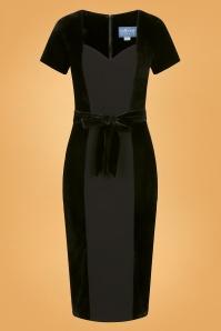 50s Gracie Velvet Pencil Dress in Black