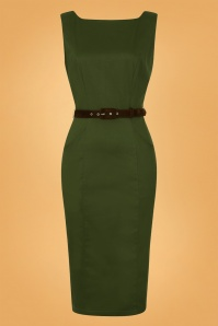 50s Hepburn Vintage Pencil Dress in Green