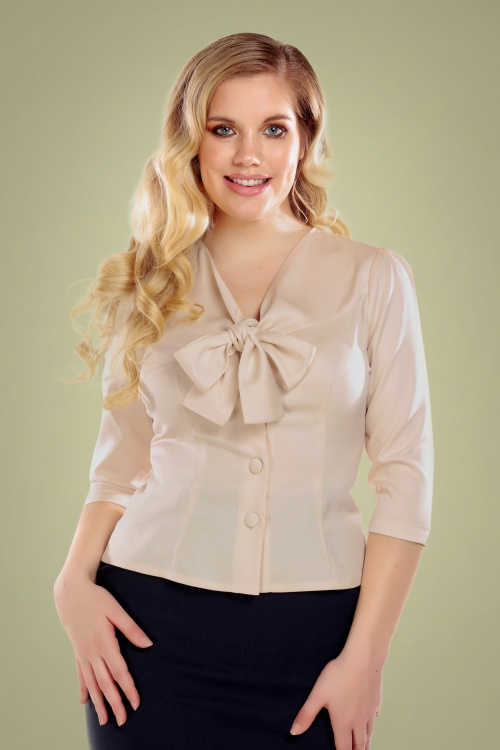 Collectif 29883 Andra Plain Blouse in Cream 20190430 020L