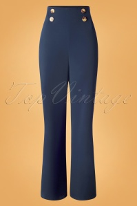 Vintage Chic 31156 Crepe Blue Trousers 20190802 003 W