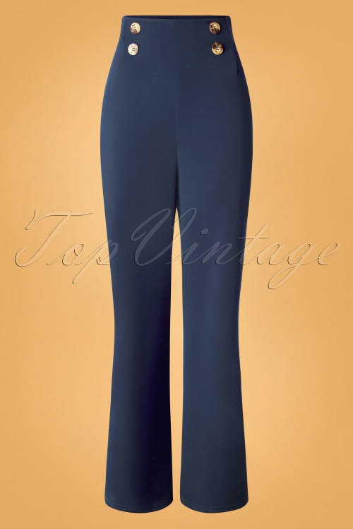 Vintage Chic 31156 Crepe Blue Trousers 20190802 003 W