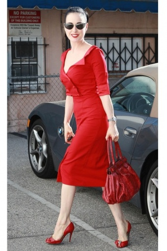 Dita Von Teese Glamour Bunny Red Shirt Dress2