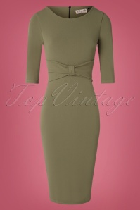 50s Vivian Pencil Dress in Olive Green