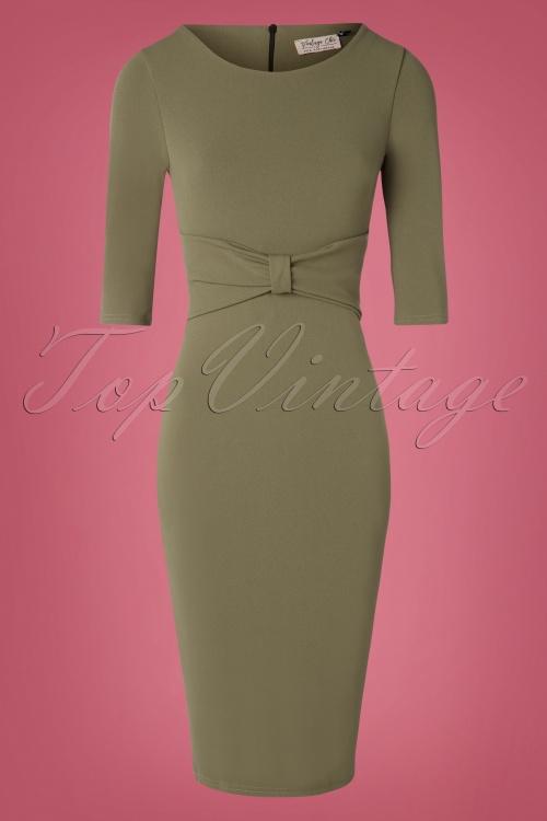 Vintage Chic 31160 Khaki Green Pencil Dress 20190802 002 W