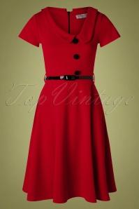 Lynne Swing Dress Années 50 en Rouge Foncé