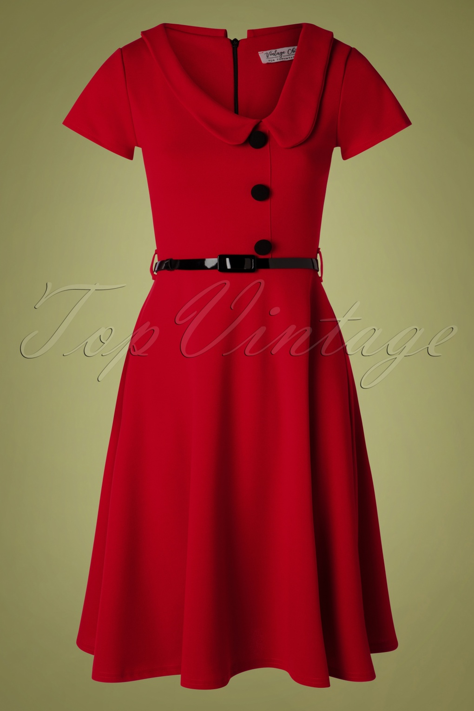 1950s Swing Dresses | 50s Swing Dress 50s Lynne Swing Dress in Dark Red £60.29 AT vintagedancer.com
