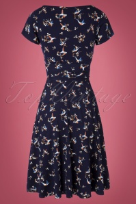 TopVintage Boutique Collection 31244 Navy Hummingbird Bow Dress 20190802 006W