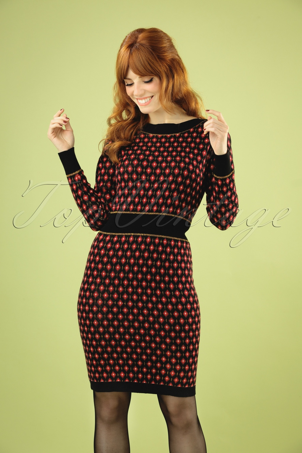 1960s Style Dresses, Clothing, Shoes UK 60s Audrey Diamond Dress in Black £98.00 AT vintagedancer.com