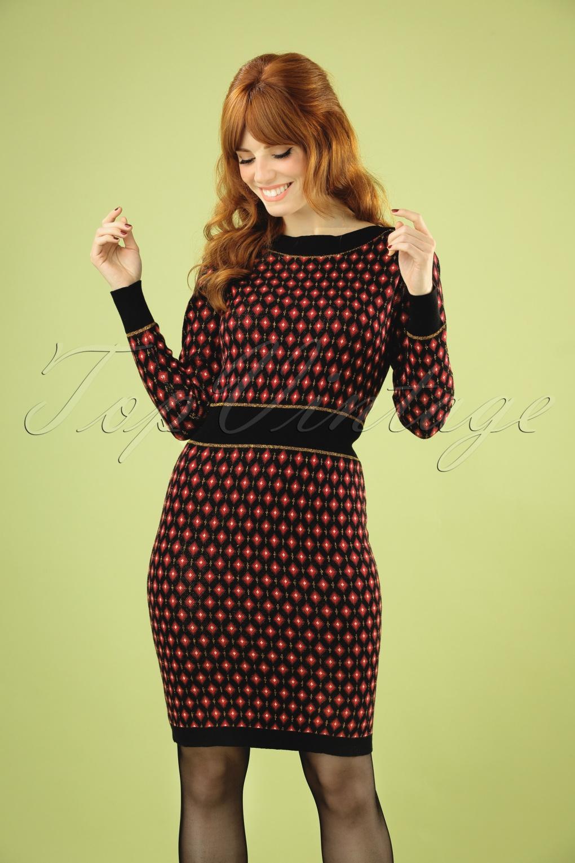 60s Dresses & 60s Style Dresses UK 60s Audrey Diamond Dress in Black £98.00 AT vintagedancer.com