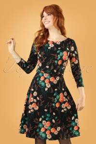 Betty Fieldflower Swing Dress Années 60 en Noir
