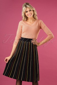 60s Glitter Stripe Skirt in Black