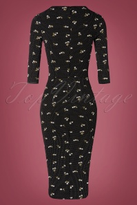 TopVintage Boutique Collection 31174 Black Floral Pencil Dress 20190802 006W