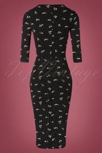 TopVintage Boutique Collection 31174 Black Floral Pencil Dress 20190802 006W