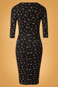 Topvintage Boutique Collection 31173 Black Yellow Floral Dress 20190805 007W