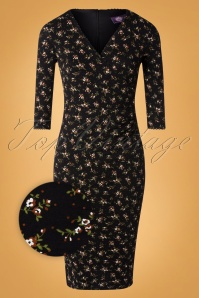 50s Gina Floral Pencil Dress in Black