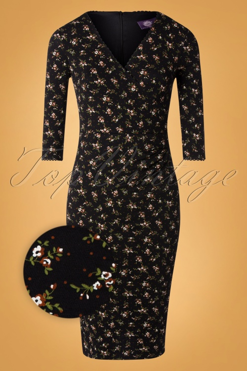 quality design 2fc57 61e7a 50s Gina Floral Pencil Dress in Black