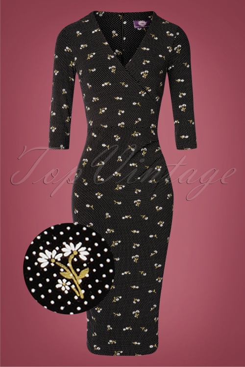 TopVintage Boutique Collection 31174 Black Floral Pencil Dress 20190802 002 vergrootglaasje