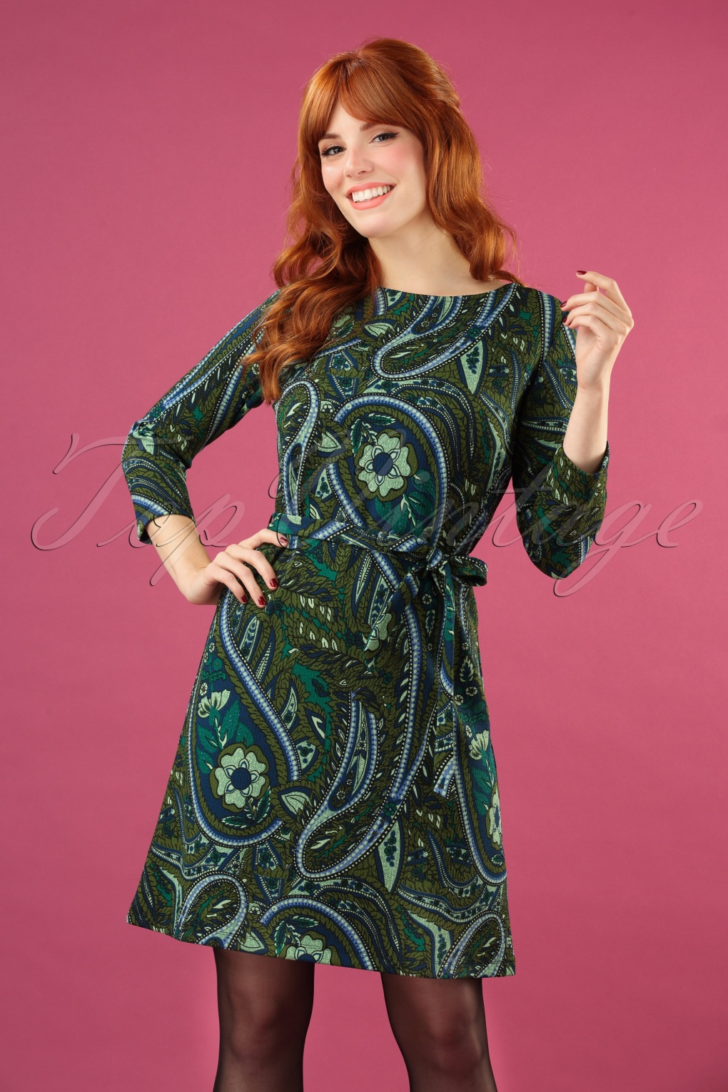1960s Style Dresses, Clothing, Shoes UK 60s Zoe Teardrop Dress in Olive Green £80.77 AT vintagedancer.com