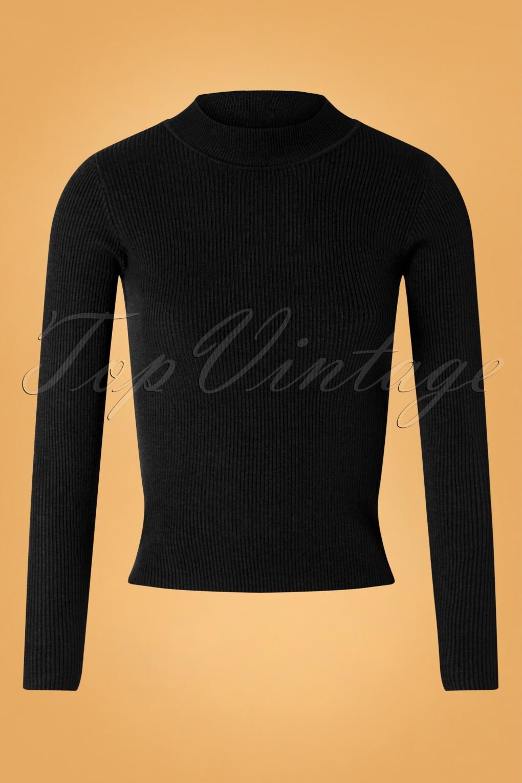 60s Shirts, T-shirt, Blouses | 70s Shirts, Tops, Vests 60s Jessica Turtleneck Jumper in Black £37.08 AT vintagedancer.com