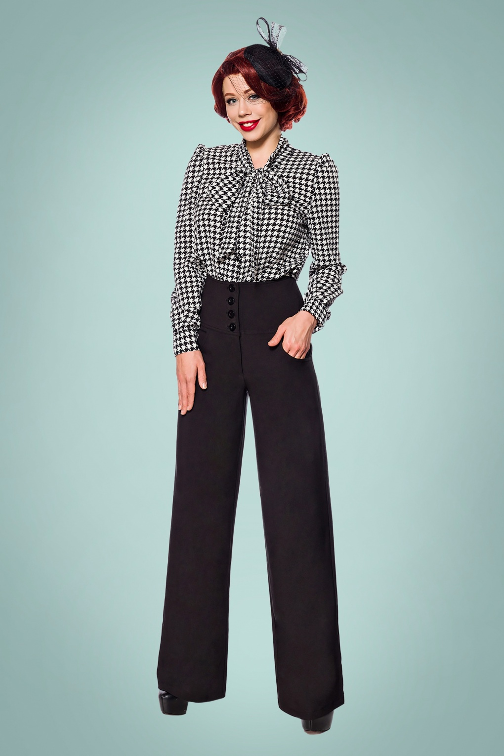 Vintage High Waisted Trousers, Sailor Pants, Jeans 40s Charline Trousers in Black £53.99 AT vintagedancer.com