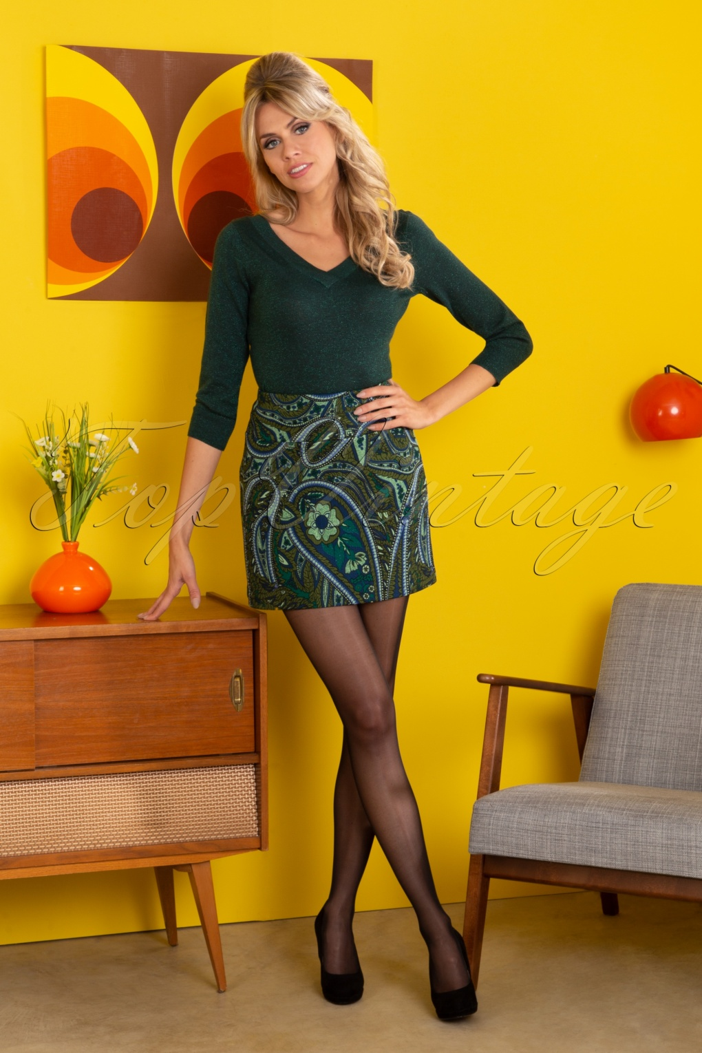 Retro Skirts: Vintage, Pencil, Circle, & Plus Sizes 60s Olivia Teardrop Skirt in Olive Green £59.60 AT vintagedancer.com