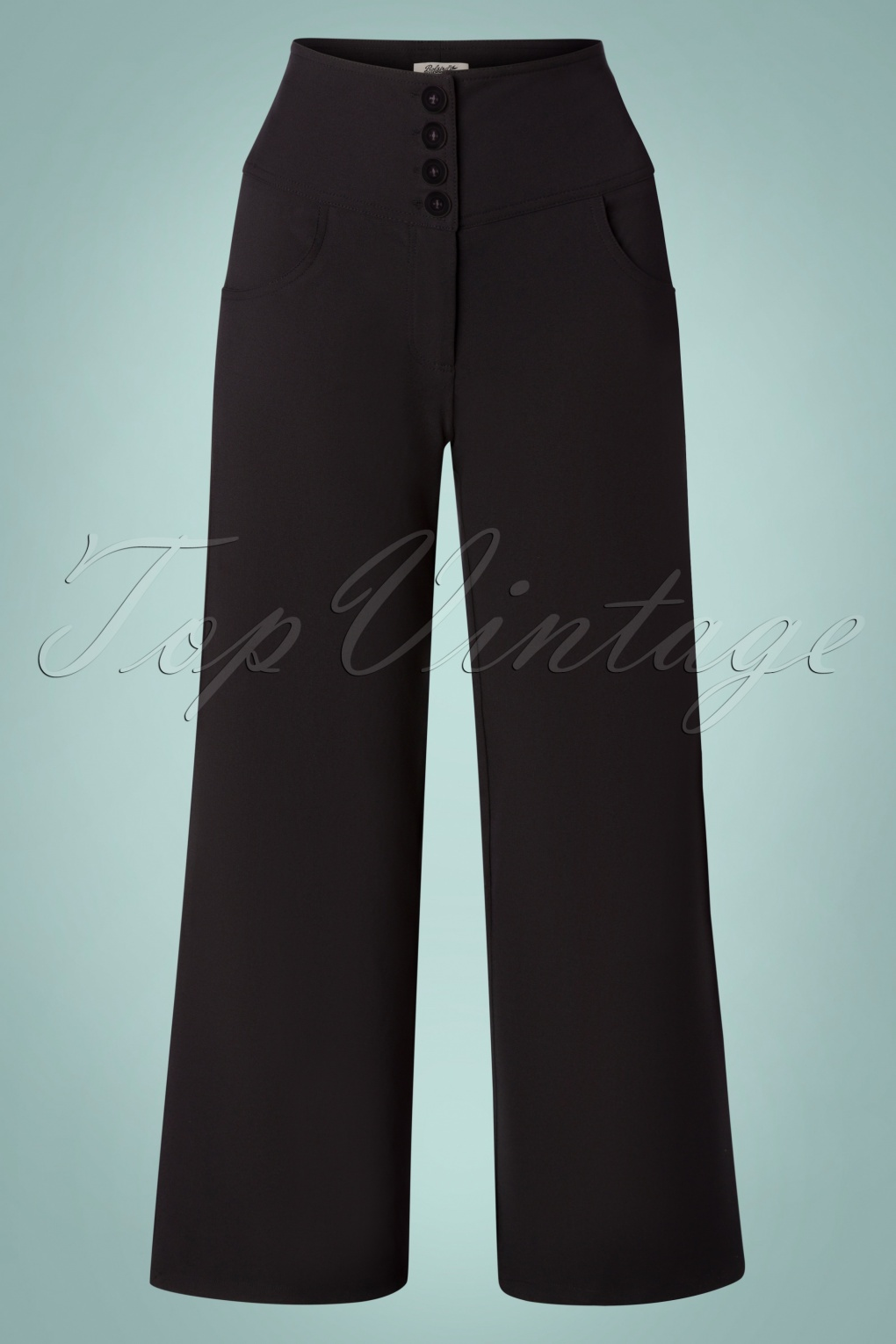 1940s Swing Pants & Sailor Trousers- Wide Leg, High Waist 40s Charline Trousers in Black £58.43 AT vintagedancer.com