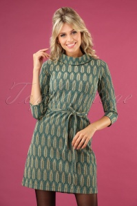 King Louie 70s Dita Lexington Dress in Dragonfly Green