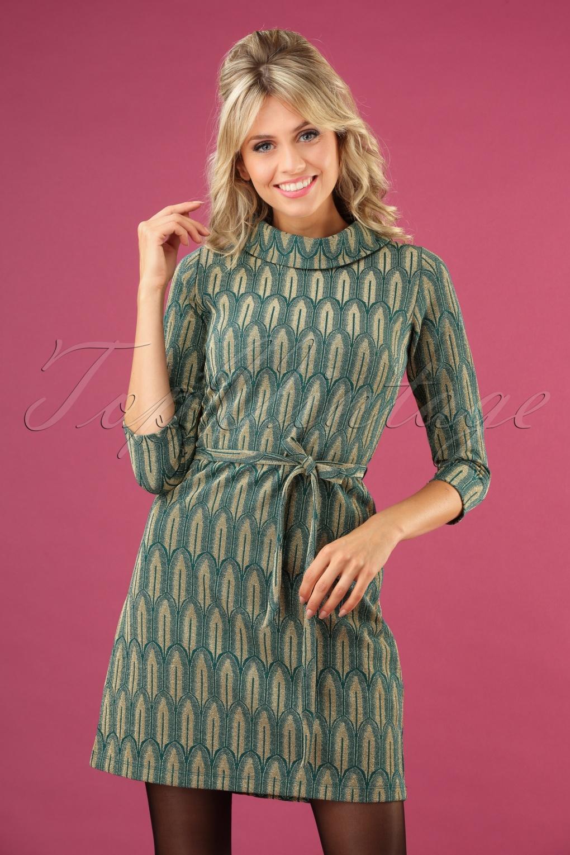 70s Dresses – Disco Dress, Hippie Dress, Wrap Dress 70s Dita Lexington Dress in Dragonfly Green £98.00 AT vintagedancer.com