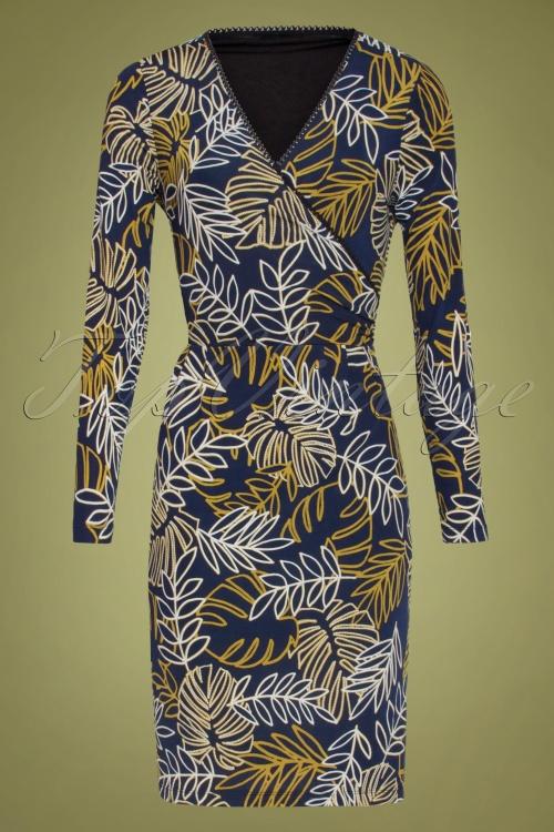 Smashed Lemon 30227 Blue Floral Pencil Dress 20190802 020L W