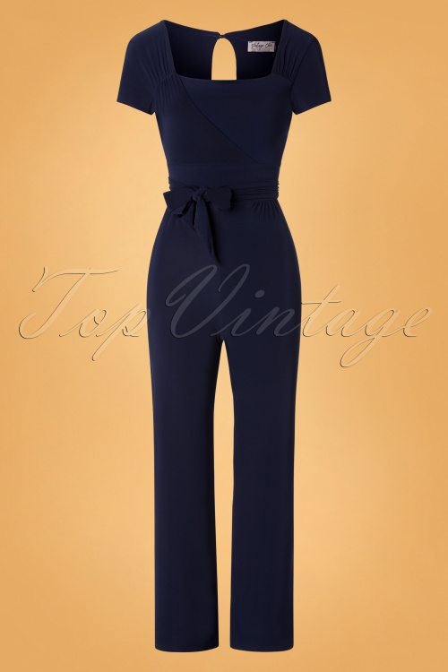Vintage Chic 31182 Jumpsuit Blue Navy 20190805 002 W