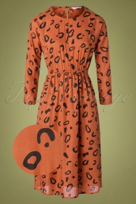 70s Vestido Animal Dress in Rusty Orange