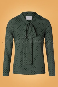 60s Penny Polkadot Blouse in Green