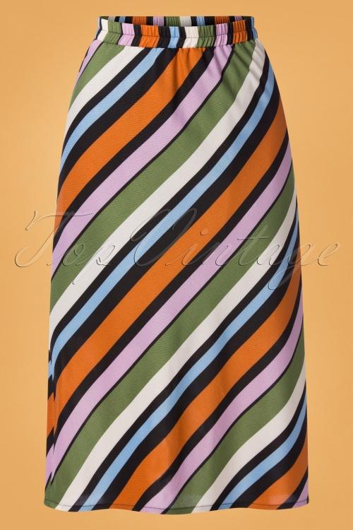 Compania Fantastica 29712 Falda Skirt Striped Orange Green Pink Blue 20190805 002W