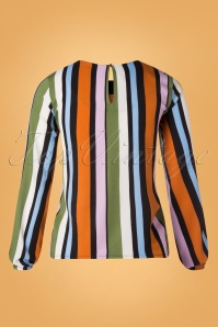 Compania Fantastica 29714 Blouse Orange Green Pink Blue Striped 20190805 007W