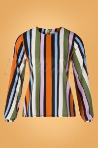 Compania Fantastica 29714 Blouse Orange Green Pink Blue Striped 20190805 002W