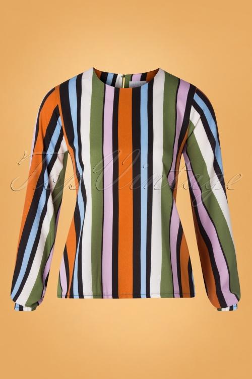 Compania Fantastica 29714 Blouse Orange Green Pink Blue Striped 20190805 002W