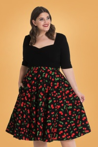 50s Sweetie Cherry Swing Skirt in Black