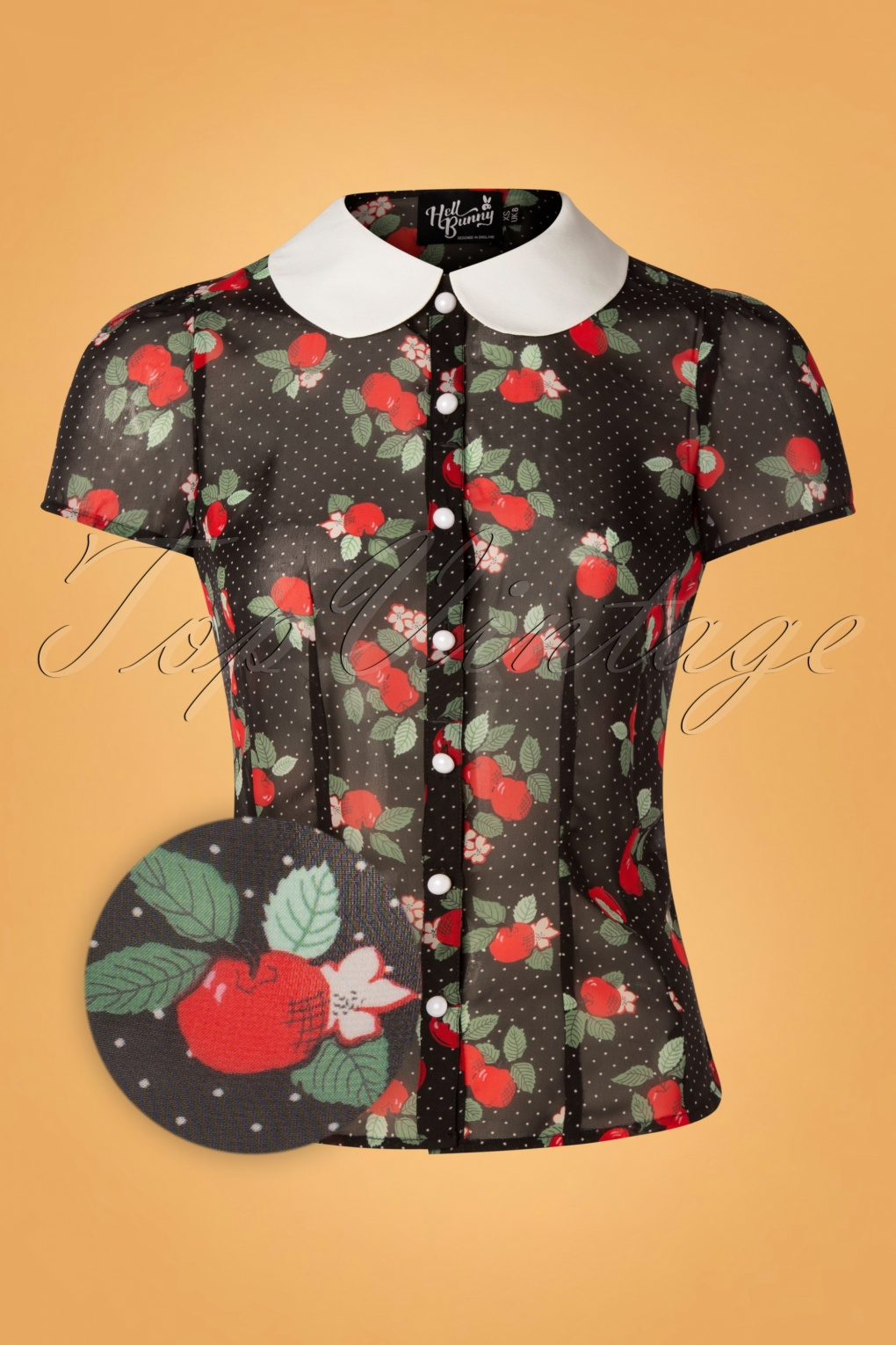 1950s Rockabilly & Pin Up Tops, Blouses, Shirts 50s Apple Blossom Blouse in Black £32.44 AT vintagedancer.com