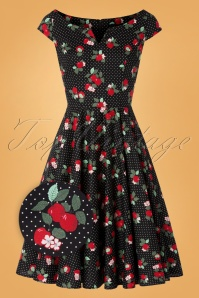50s Apple Blossom Swing Dress in Black