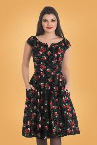Apple Blossom Swing Dress Années 50 en Noir