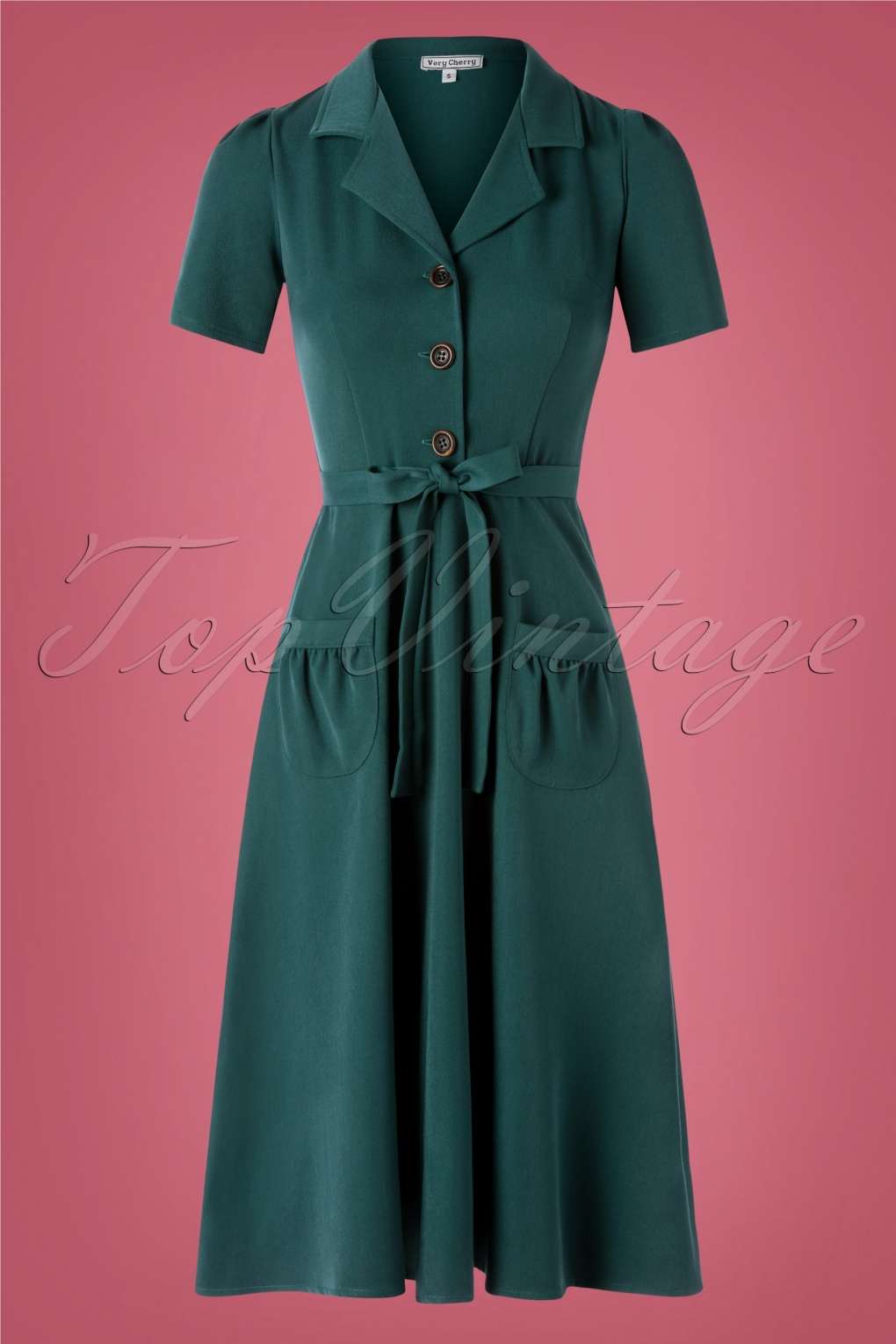 1940s Dresses and Clothing UK | 40s Shoes UK 40s Midi Revers Dress in Petrol £120.62 AT vintagedancer.com