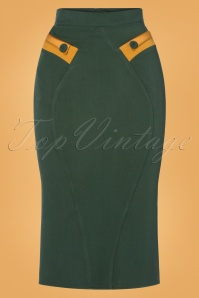50s Eszter Satin Pencil Skirt in Green and Mustard