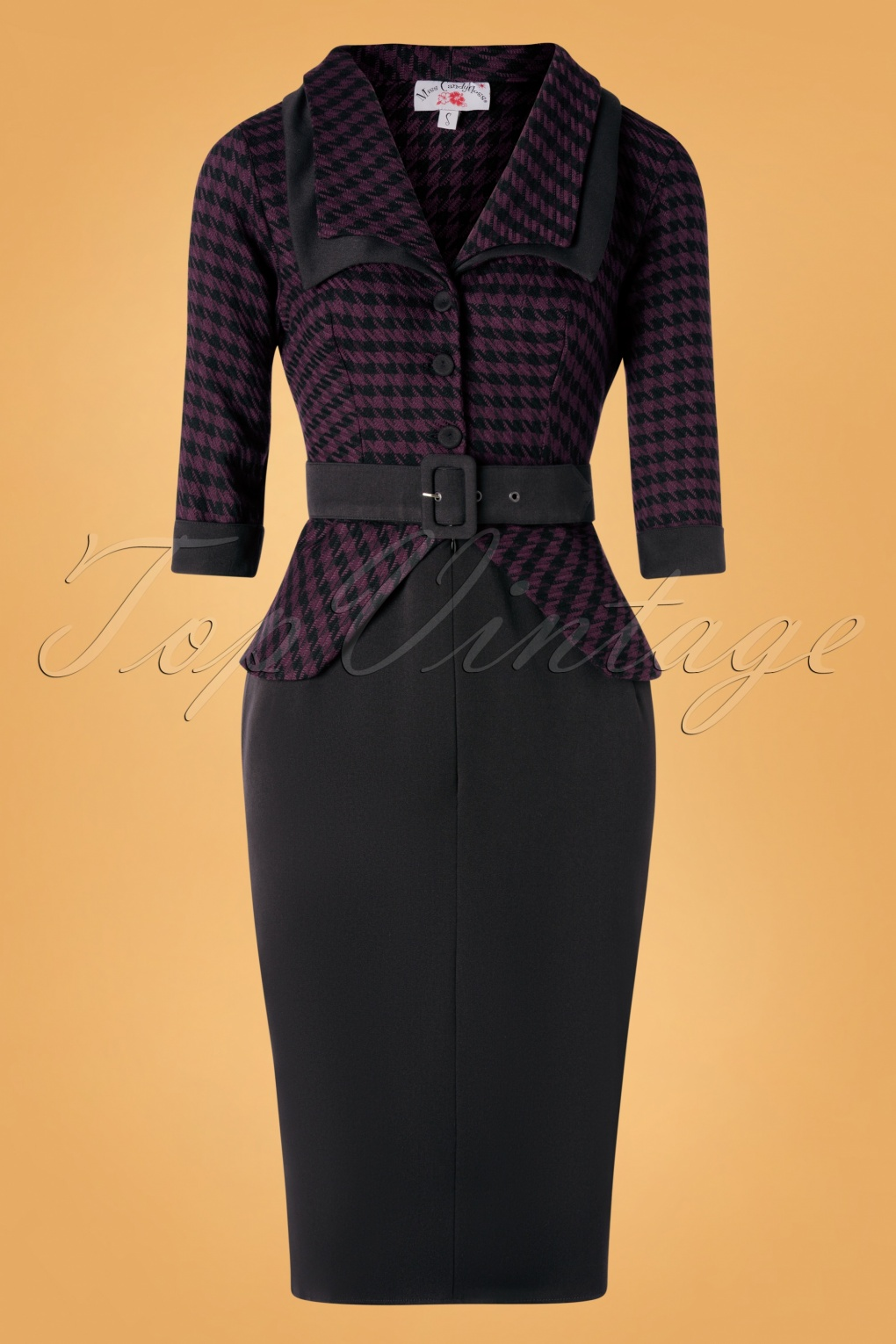 Women's 1940s Victory Suits and Utility Suits 40s Capucine Lou Pencil Dress in Black and Plum Houndstooth £96.93 AT vintagedancer.com
