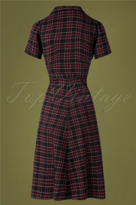 Very Cherry 29995 Revers Midi Dress Navy tartan 20190605 005W