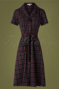 40s Midi Revers Dress in Navy Tartan