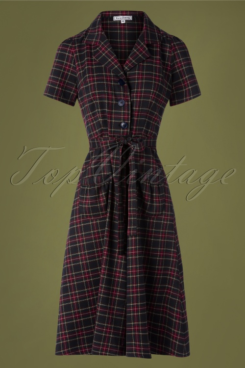 Very Cherry 29995 Revers Midi Dress Navy tartan 20190605 002W