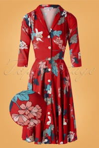 Very Cherry 29990 D'Laune Dress Red Flower Blue Pink Green Swing 20190605 006 vergrootglaasje