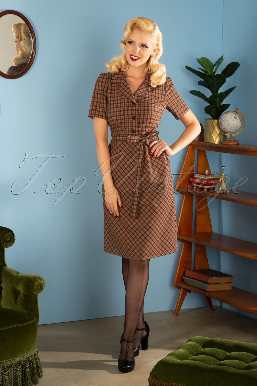 1940s Tea Dresses, Mature, Mrs. Long Sleeve Dresses 40s Revers Straight Skirt Dress in Nestor Check Beige £125.26 AT vintagedancer.com