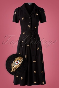40s Midi Revers Caline Brode Feathers Dress in Black